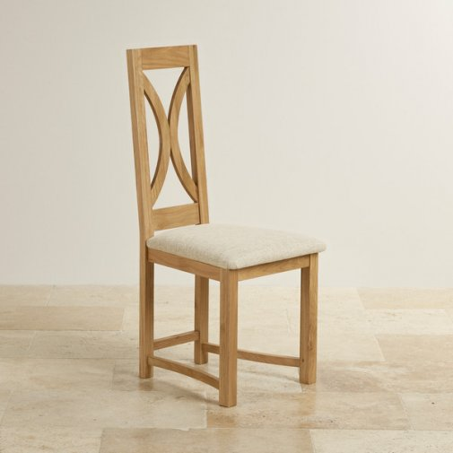 Loop Back Natural Solid Oak and Plain Beige Fabric Dining Chair