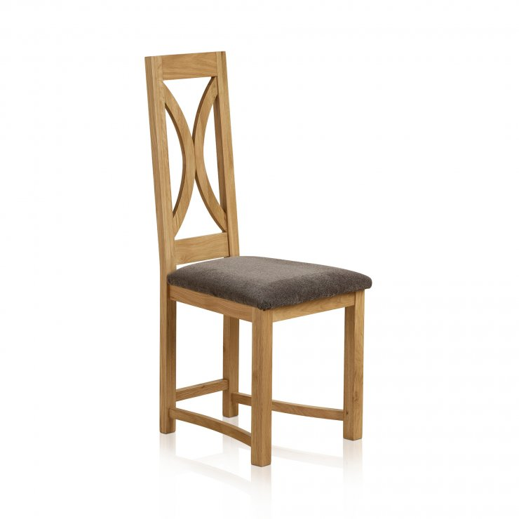 Loop Back Natural Solid Oak and Plain Charcoal Fabric Dining Chair - Image 3