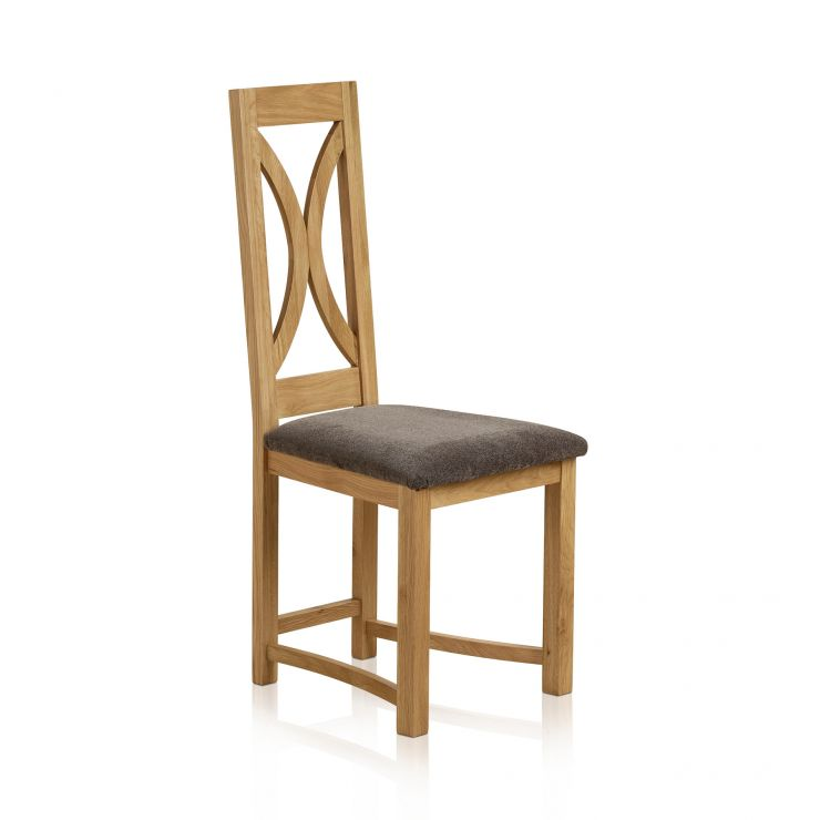 Loop Back Natural Solid Oak and Plain Charcoal Fabric Dining Chair - Image 1