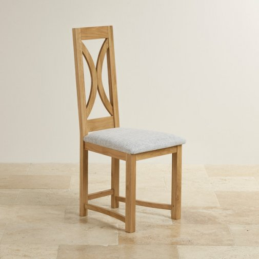 Loop Back Natural Solid Oak and Plain Grey Fabric Dining Chair