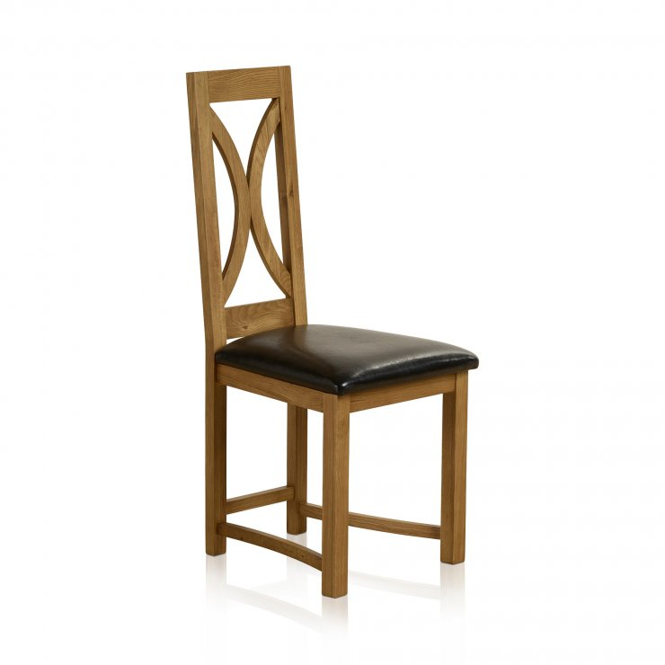 Loop Back Rustic Solid Oak and Black Leather Dining Chair - Image 3