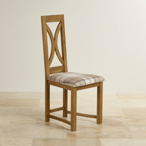 Loop Back Rustic Solid Oak and Brown Checked Fabric Dining Chair