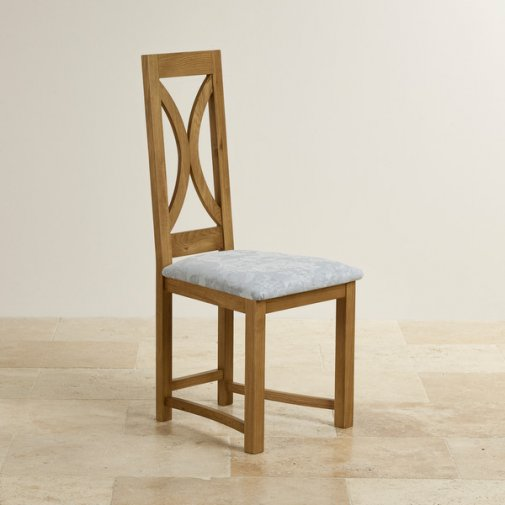 Loop Back Rustic Solid Oak and Patterned Duck Egg Fabric Dining Chair