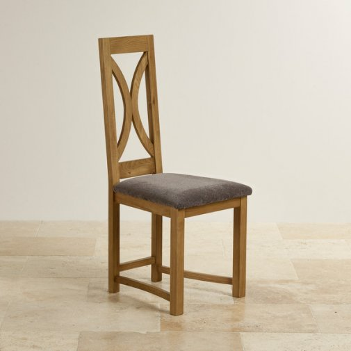 Loop Back Rustic Solid Oak and Plain Charcoal Fabric Dining Chair
