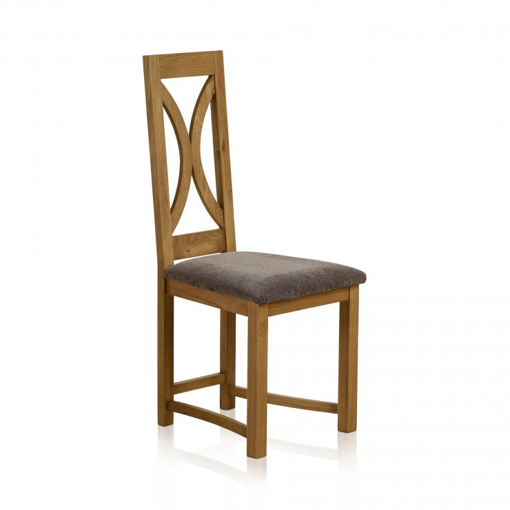 Loop Back Rustic Solid Oak and Plain Charcoal Fabric Dining Chair - Image 3