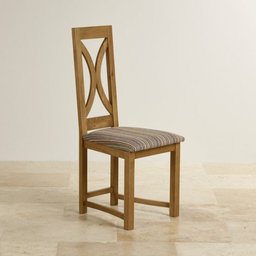 Loop Back Rustic Solid Oak and Striped Multi-Coloured Fabric Dining Chair