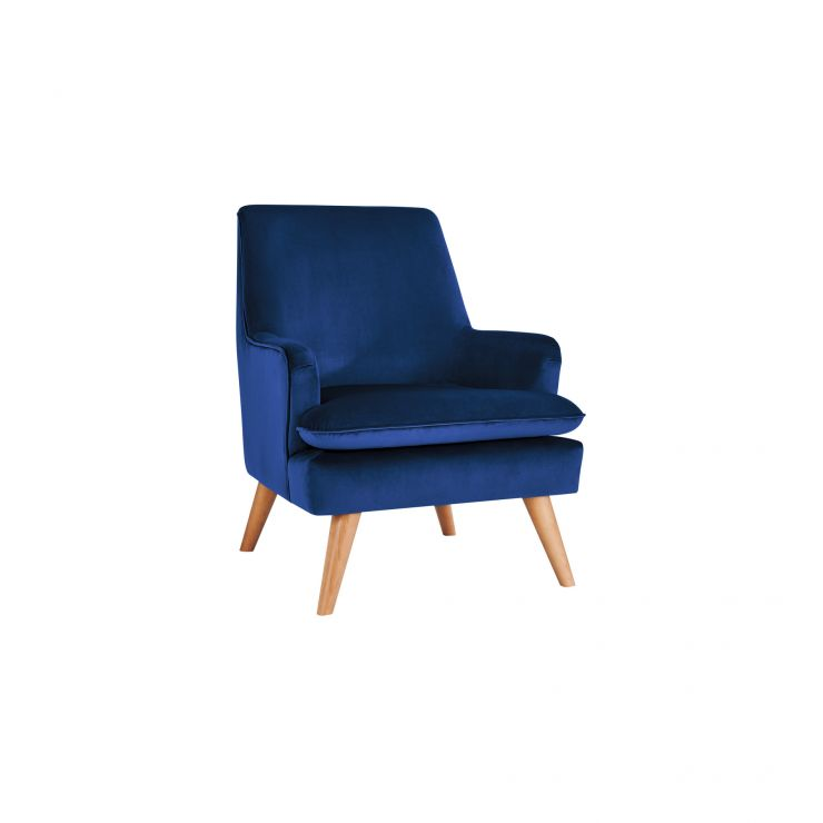 Louis Accent Chair in Navy Velvet - Image 1