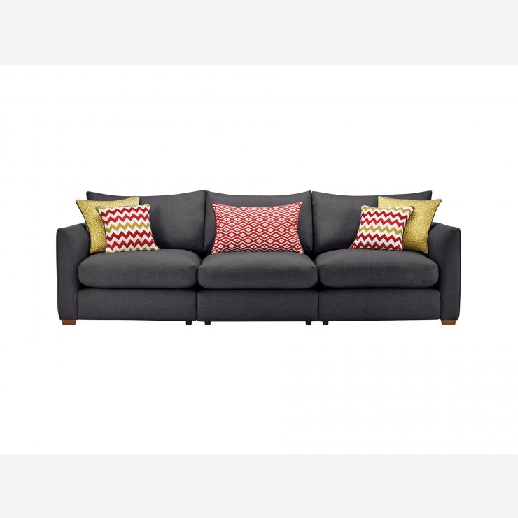 Maddox Modular Group 9 in Delia Charcoal with Red Scatters