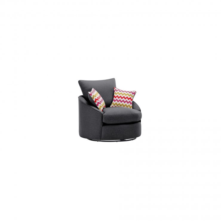 Maddox Twist Chair in Delia Charcoal with Red Scatters - Image 2