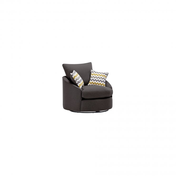 Maddox Twist Chair in Eleanor Charcoal with Lime Scatters - Image 2