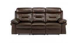 Maison 3 Seater Sofa with 2 Manual Recliners - Brown Leather image
