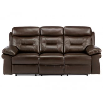 Maison 3 Seater Sofa with 2 Manual Recliners - Brown Leather