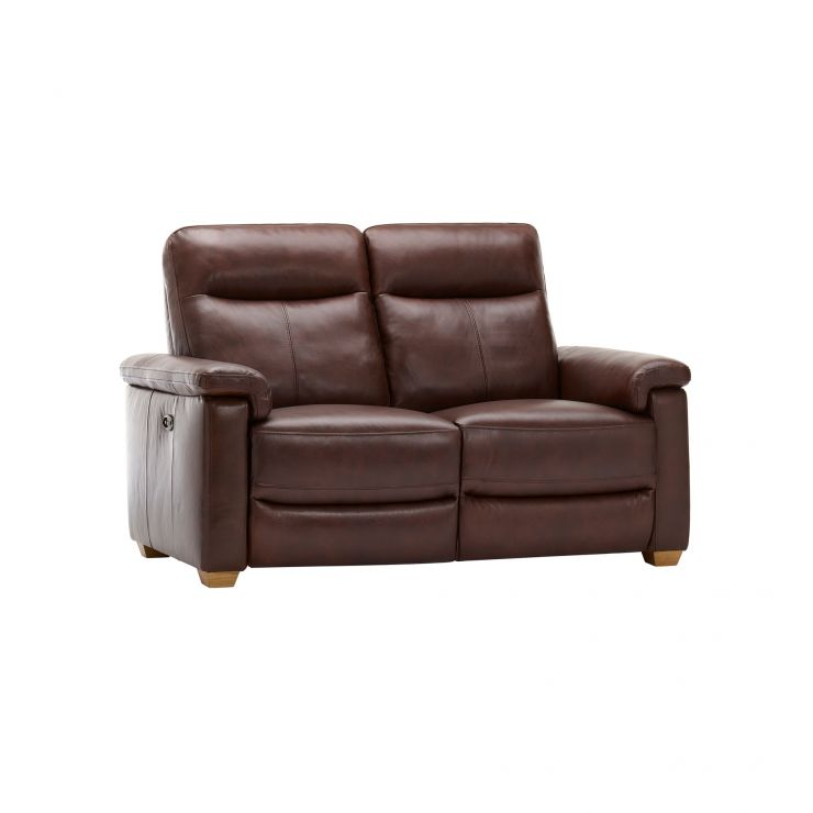 Malmo 2 Seater Sofa with 2 Electric Recliners - 2 Tone Brown Leather - Image 9