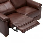 Malmo 2 Seater Sofa with 2 Manual Recliners - 2 Tone Brown Leather - Thumbnail 7