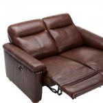 Malmo 2 Seater Sofa with 2 Manual Recliners - 2 Tone Brown Leather - Thumbnail 6