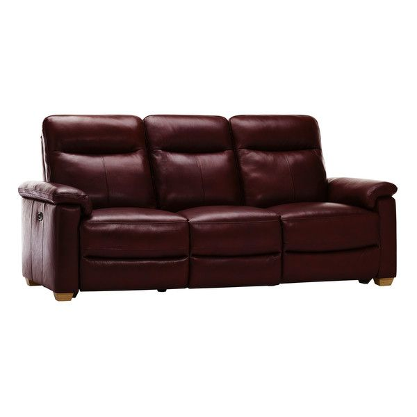 Malmo 3 Seater Sofa with 2 Electric Recliners - Burgundy Leather