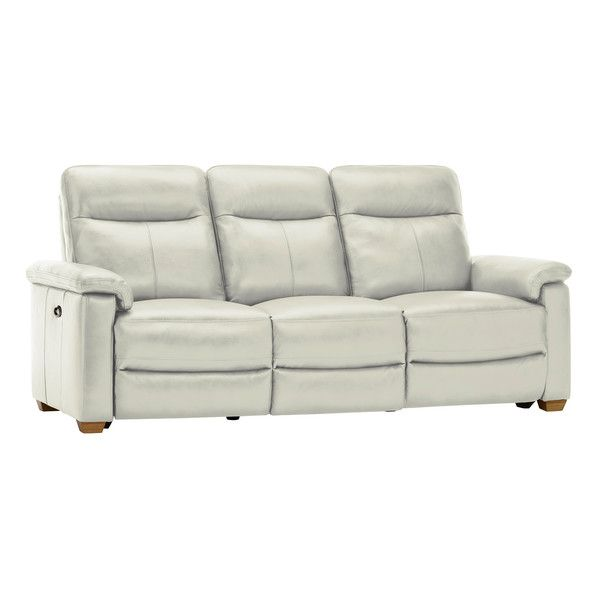Malmo 3 Seater Sofa with 2 Electric Recliners - Off White Leather