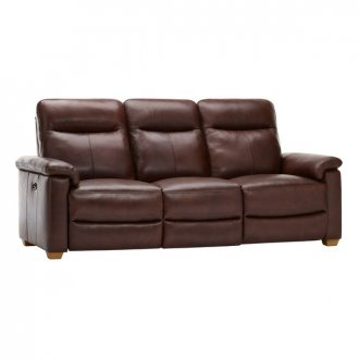 Malmo 3 Seater Sofa with 2 Manual Recliners - 2 Tone Brown Leather