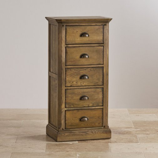 Manor House Natural Vintage Solid Oak 5 Drawer Tallboy
