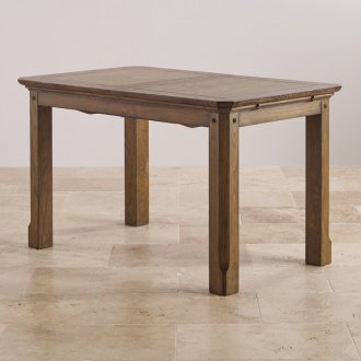 """Manor House Vintage Solid Oak 4ft 3"""" x 2ft 7"""" Extending Dining Table"""