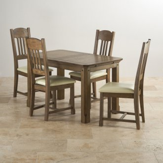 """Manor House Vintage Solid Oak 4ft 3"""" x 2ft 7"""" Extending Dining Table with 4 Cream Manor House Chairs"""