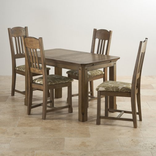 "Manor House Vintage Solid Oak 4ft 3"" x 2ft 7"" Extending Dining Table with 4 Sage Manor House Chairs"
