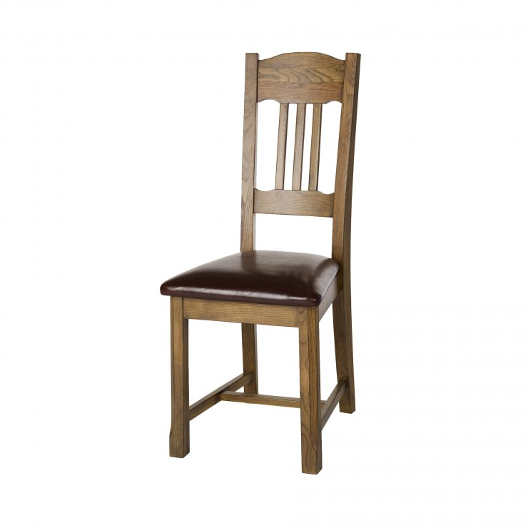 Manor House Vintage Solid Oak and Brown Leather Dining Chair - Image 3
