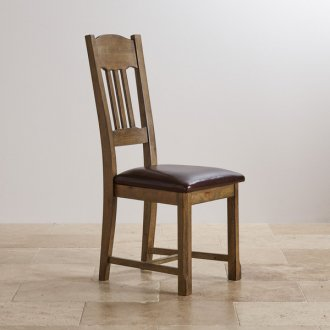 Manor House Vintage Solid Oak and Brown Leather Dining Chair