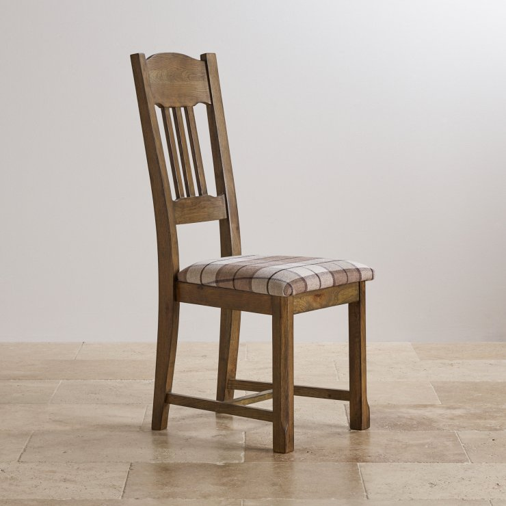 Manor House Vintage Solid Oak and Check Brown Fabric Dining Chair