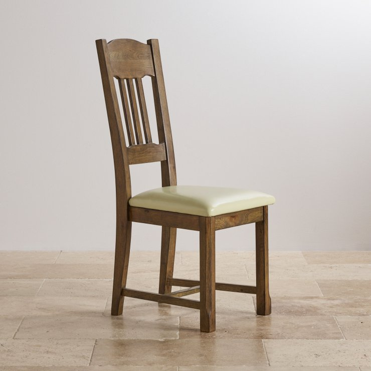 Manor House Vintage Solid Oak and Cream Leather Dining Chair