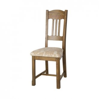 Manor House Vintage Solid Oak and Patterned Beige Fabric Dining Chair