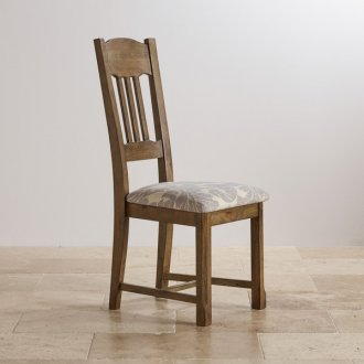 Manor House Vintage Solid Oak and Patterned Grey Fabric Dining Chair