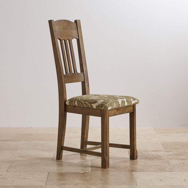 Manor House Vintage Solid Oak and Patterned Sage Fabric Dining Chair
