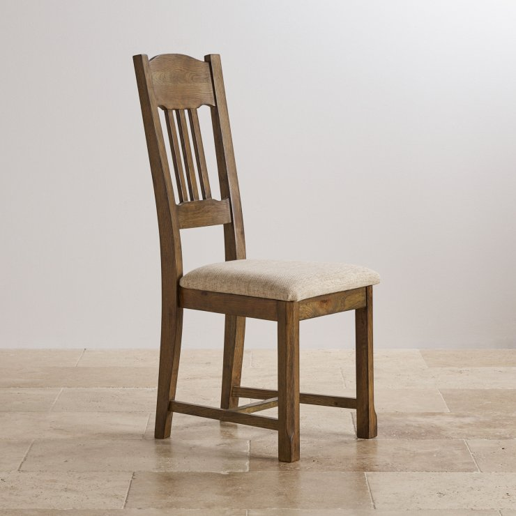 Manor House Vintage Solid Oak and Plain Beige Fabric Dining Chair - Image 2