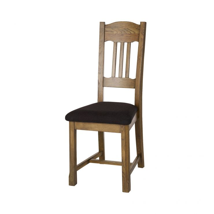 Manor House Vintage Solid Oak and Plain Black Fabric Dining Chair - Image 3
