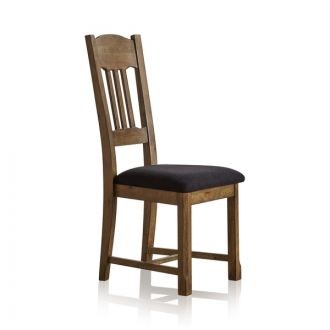 Manor House Vintage Solid Oak and Plain Black Fabric Dining Chair