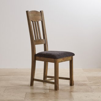 Manor House Vintage Solid Oak and Plain Charcoal Fabric Dining Chair