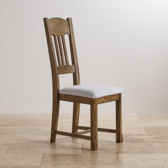 Manor House Vintage Solid Oak and Plain Grey Fabric Dining Chair