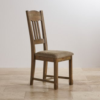 Manor House Vintage Solid Oak and Plain Sage Fabric Dining Chair