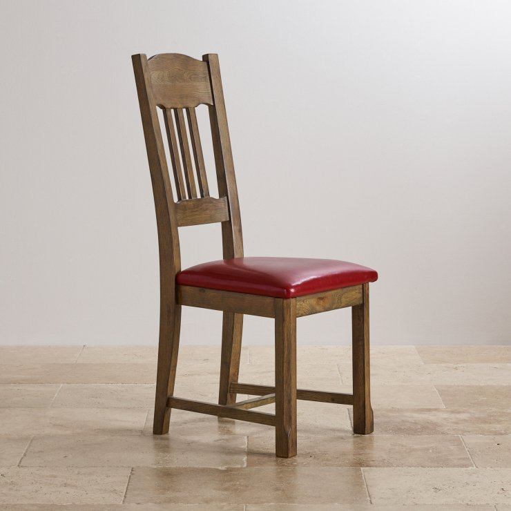 Manor House Vintage Solid Oak and Red Leather Dining Chair