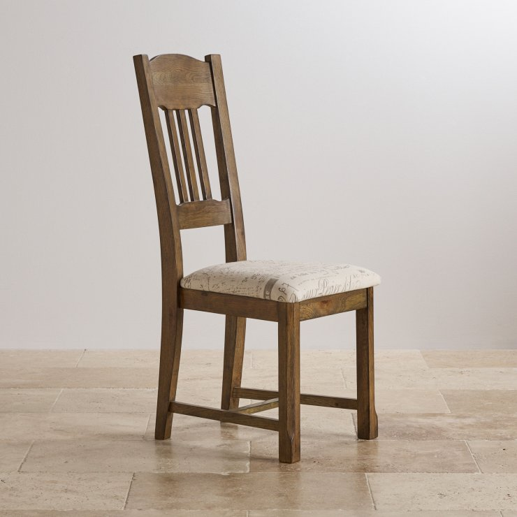 Manor House Vintage Solid Oak and Scripted Beige Fabric Dining Chair