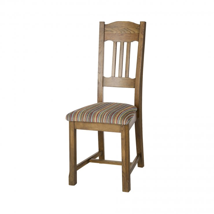 Manor House Vintage Solid Oak and Striped Multi-coloured Fabric Chair - Image 2