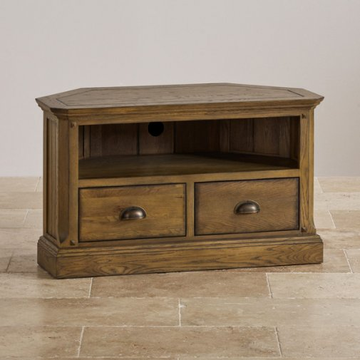 Manor House Vintage Solid Oak Corner TV Cabinet