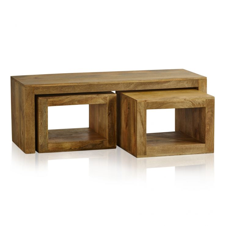 Mantis Light Natural Solid Mango 3 Cube Nest of Tables - Image 4