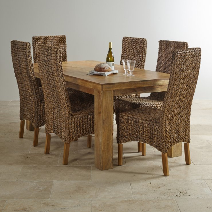 """Mantis Light Natural Solid Mango 5ft x 2ft 6"""" Dining Table"""