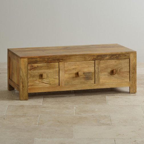 Mantis Light Natural Solid Mango 6 Drawer Storage Coffee Table