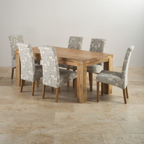 Mantis Light Natural Solid Mango 6ft x 3ft Dining Table + 6 Patterned Grey Fabric Scroll Back Chairs