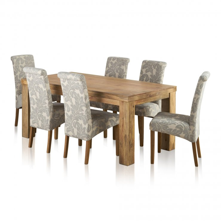 Mantis Light Natural Solid Mango 6ft x 3ft Dining Table + 6 Patterned Grey Fabric Scroll Back Chairs - Image 5