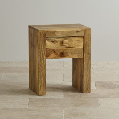 Mantis Light Natural Solid Mango 2 Drawer Bedside Table