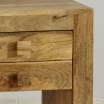 Mantis Light Natural Solid Mango 2 Drawer Bedside Table - Thumbnail 4